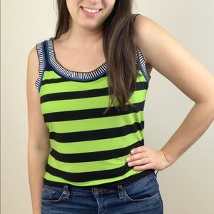 Joseph Ribkoff Vintage Green Black Stripe Tank Top